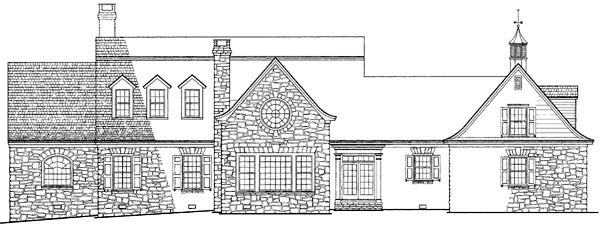 Colonial Cottage Country Farmhouse Plantation Traditional House Plan 86164 Rear Elevation