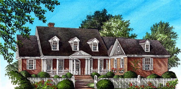 Plantation, Ranch, Traditional House Plan 86171 with 5 Beds, 5 Baths, 2 Car Garage Elevation