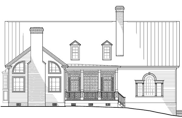Rear Elevation of Colonial   Southern   House Plan 86178