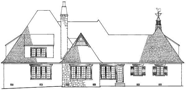 European Tudor House Plan 86185 Rear Elevation