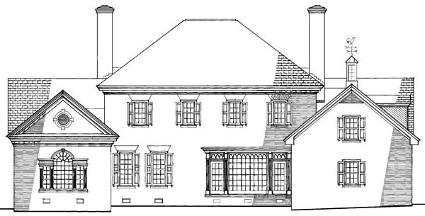 Colonial Plantation Traditional House Plan 86203 Rear Elevation