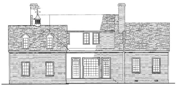 Cottage, Country, Southern House Plan 86216 with 3 Beds, 4 Baths, 2 Car Garage Rear Elevation