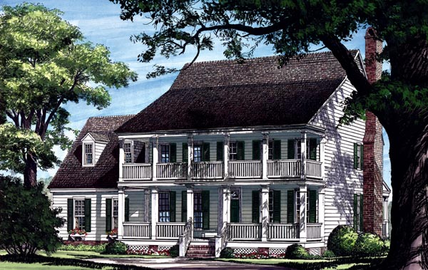 Elevation of Colonial   Farmhouse  Southern   House Plan 86217