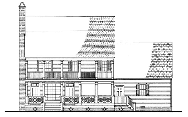 Rear Elevation of Colonial   Farmhouse  Southern   House Plan 86217
