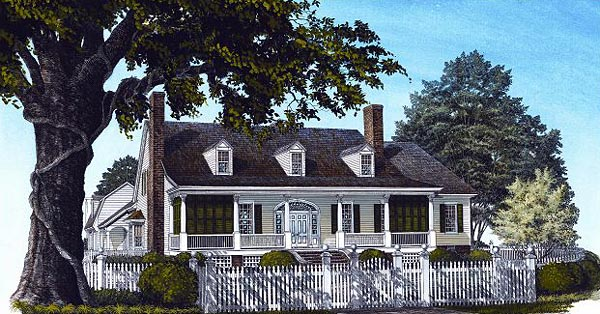 Cape Cod Colonial Cottage Country Farmhouse Southern Traditional House Plan 86219 Elevation