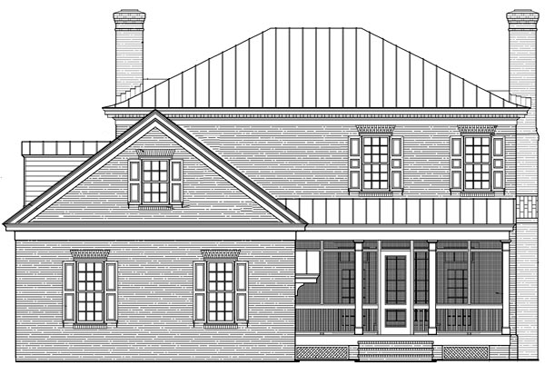 Rear Elevation of Colonial   Plantation   Southern   House Plan 86225