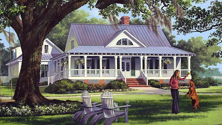 Cottage, Country, Farmhouse, Traditional Plan with 2556 Sq. Ft., 4 Bedrooms, 3 Bathrooms, 2 Car Garage Elevation