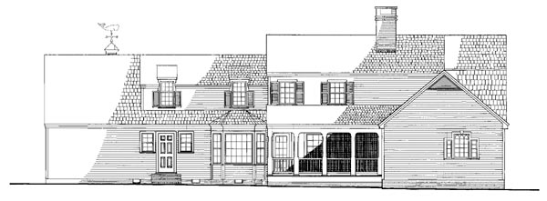 Colonial Cottage Country Traditional House Plan 86241 Rear Elevation