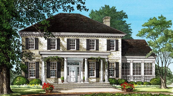 Colonial Plantation Southern House Plan 86242 Elevation