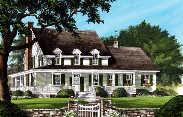 Country, Farmhouse, Southern House Plan 86245 with 4 Beds, 4 Baths, 2 Car Garage Elevation