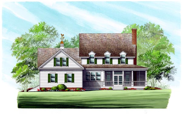Country, Farmhouse, Southern House Plan 86245 with 4 Beds, 4 Baths, 2 Car Garage Rear Elevation