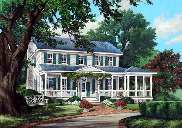 Colonial Country Farmhouse Traditional House Plan 86248 Elevation