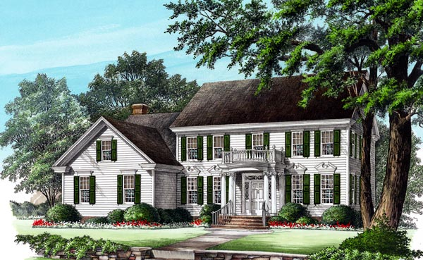 Colonial House Plan 86249 with 4 Beds, 3 Baths, 2 Car Garage Elevation