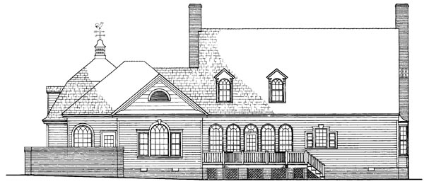 Cape Cod Colonial Cottage Country Southern Traditional House Plan 86258 Rear Elevation