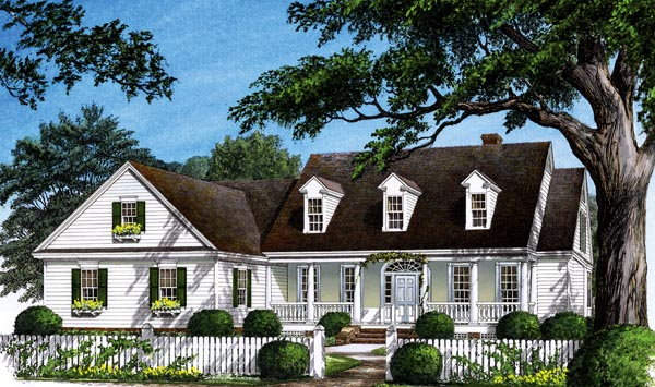 Colonial Farmhouse Southern Traditional House Plan 86268 Elevation