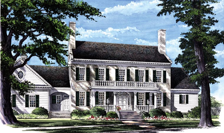 Colonial Plantation Southern House Plan 86287 Elevation