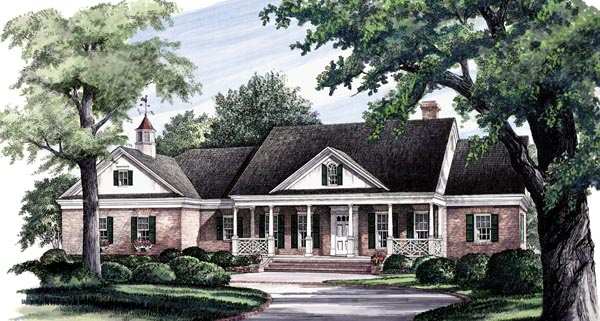 Colonial Ranch Southern Traditional House Plan 86290 Elevation