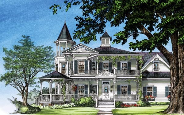 farmhouse southern victorian house plan 86291