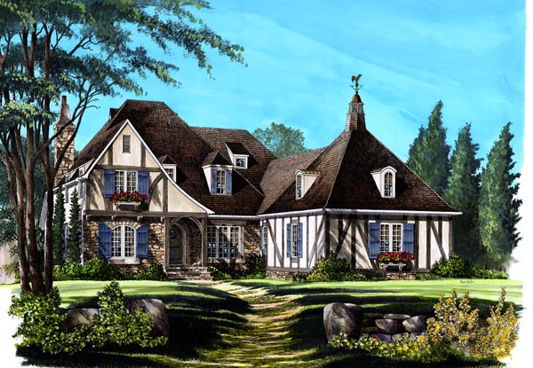 Country, European House Plan 86293 with 4 Beds, 5 Baths, 2 Car Garage Elevation