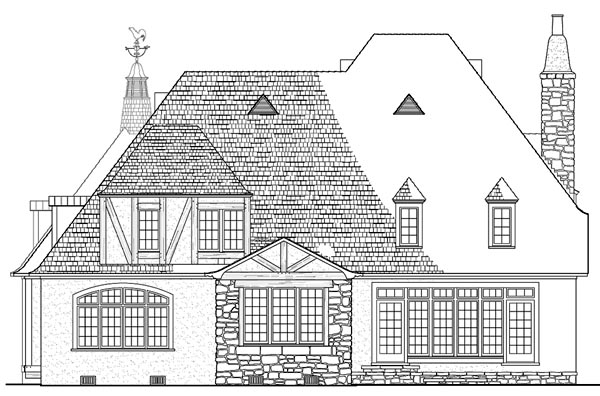 Country, European House Plan 86293 with 4 Beds, 5 Baths, 2 Car Garage Rear Elevation