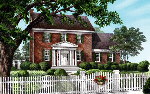 Traditional House Plan 86304 with 4 Beds, 3 Baths, 2 Car Garage Elevation
