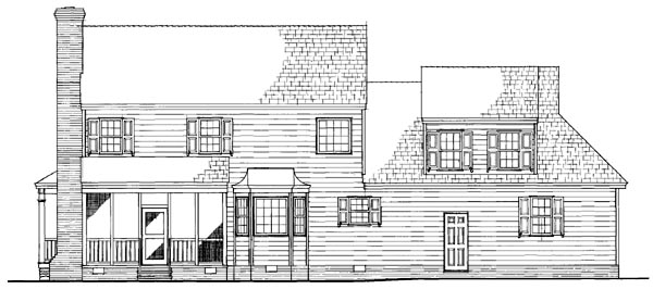 Cottage, Country, Farmhouse, Traditional House Plan 86305 with 3 Beds, 3 Baths, 2 Car Garage Rear Elevation