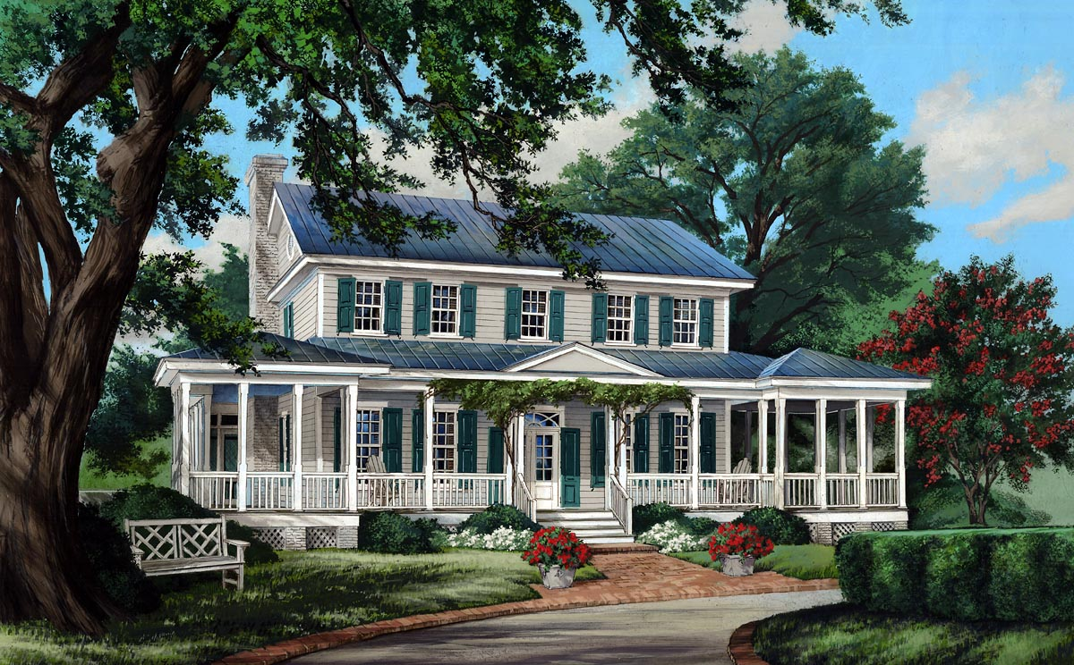 click here to see an even larger picture colonial cottage country farmhouse southern traditional house plan