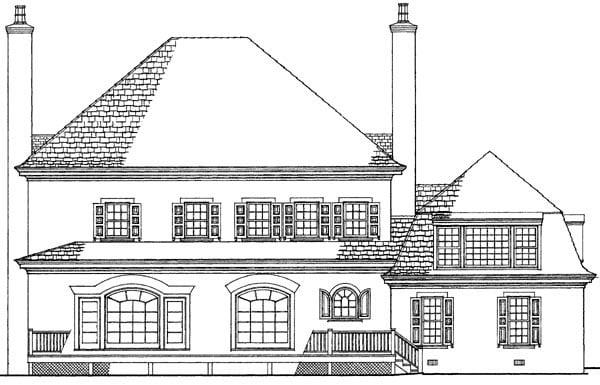 European Plantation House Plan 86320 Rear Elevation