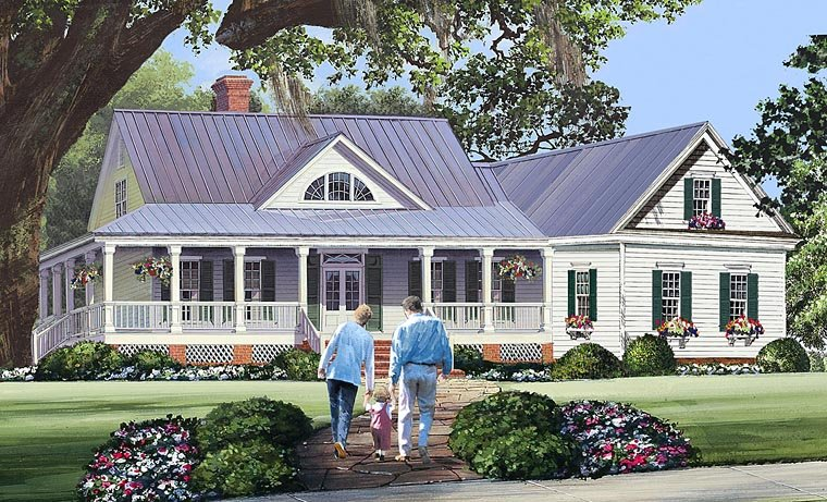 Cottage Country Farmhouse Southern Traditional House Plan 86344 Elevation