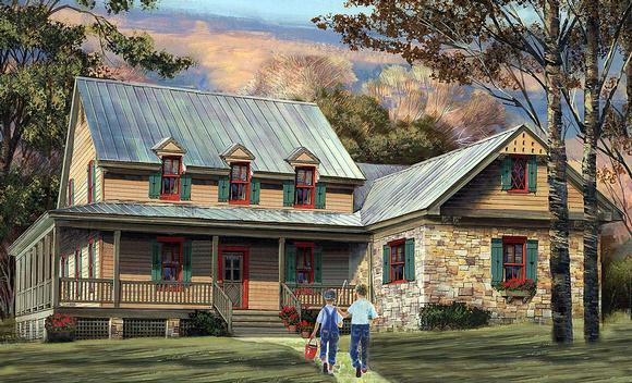 Cottage, Country, Southern House Plan 86355 with 4 Beds, 4 Baths, 2 Car Garage Elevation