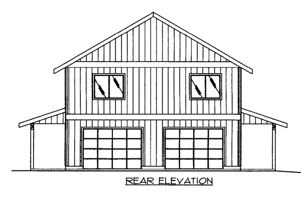 House Plan 86500 with 2 Beds, 3 Baths, 2 Car Garage Rear Elevation