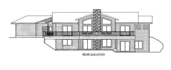 House Plan 86523 with 3 Beds, 4 Baths, 2 Car Garage Rear Elevation