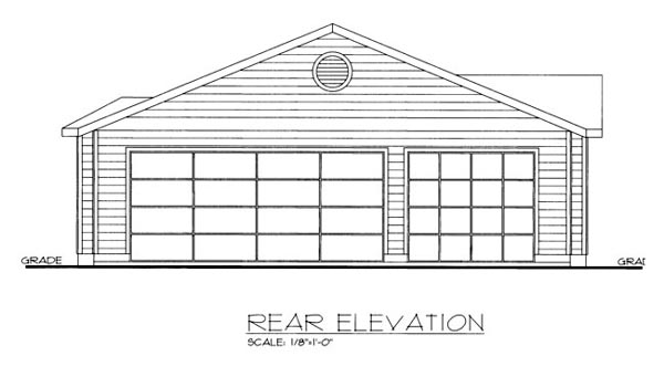 House Plan 86541 with 3 Beds, 2 Baths, 3 Car Garage Rear Elevation