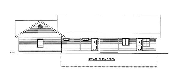 House Plan 86561 with 2 Beds, 2 Baths, 3 Car Garage Rear Elevation