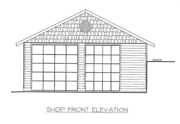 4 Car Garage Plan 86576, RV Storage Elevation