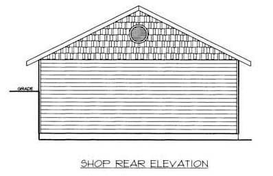 Rear Elevation of Plan 86576