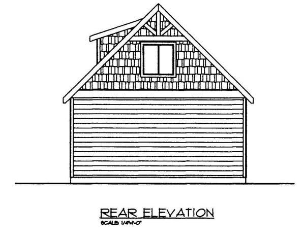 2 Car Garage Plan 86580 Rear Elevation