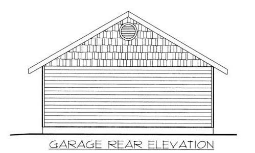 1 Car Garage Plan 86582 Rear Elevation