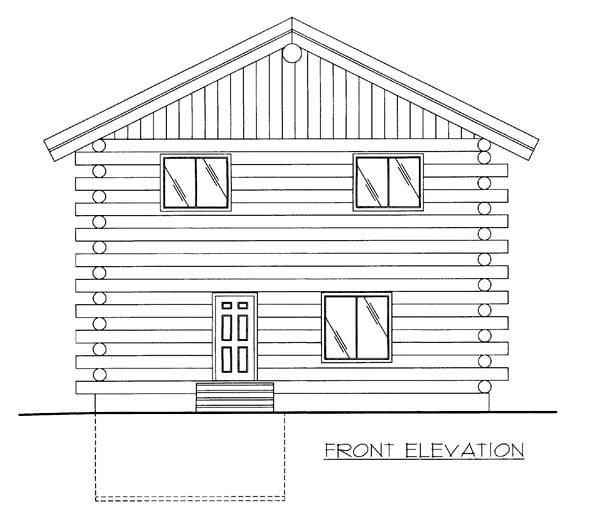 Log House Plan 86606 Elevation