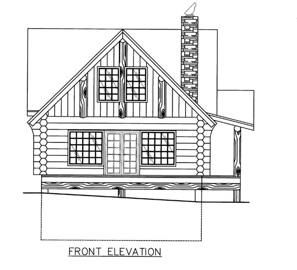 Log House Plan 86608 Elevation