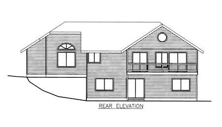 Traditional House Plan 86829 with 3 Beds, 3 Baths, 2 Car Garage Rear Elevation