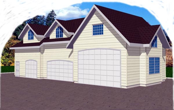 3 Car Garage Plan 86869, RV Storage Elevation
