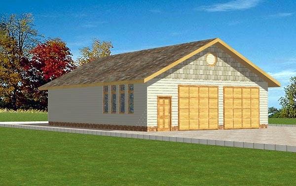 6 Car Garage Plan 86871 Elevation