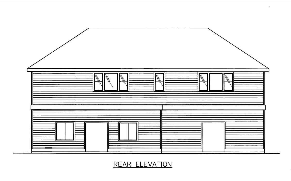 4 Car Garage Apartment Plan 86883 with 3 Beds, 2 Baths Rear Elevation