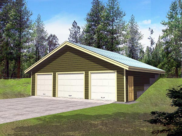 Elevation of Earth Sheltered s Traditional   Garage Plan 86886