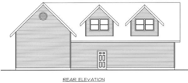 3 Car Garage Plan 86888, RV Storage Rear Elevation
