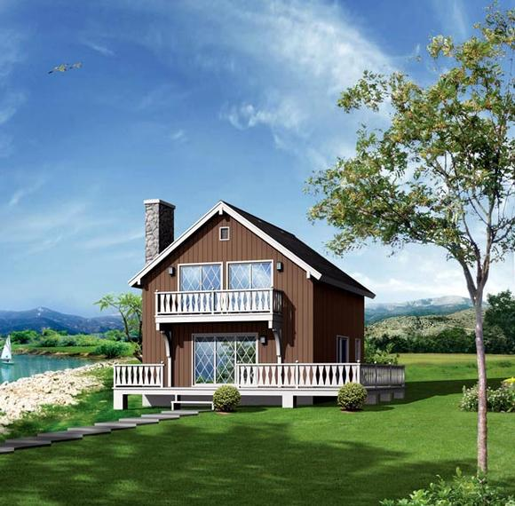 Cabin, Narrow Lot House Plan 86943 with 5 Beds, 2 Baths Elevation