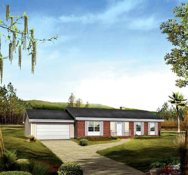 One-Story, Ranch House Plan 86944 with 3 Beds, 2 Baths, 2 Car Garage Elevation