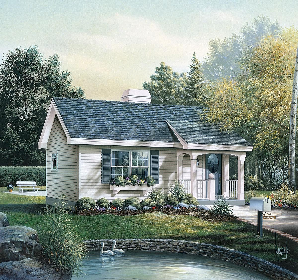 click here to see an even larger picture cabin colonial cottage country ranch house plan - Colonial Lake House Plans