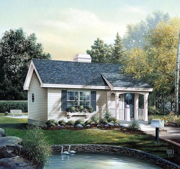 Cabin, Colonial, Cottage, Country, Ranch House Plan 86955 with 1 Beds, 1 Baths Elevation